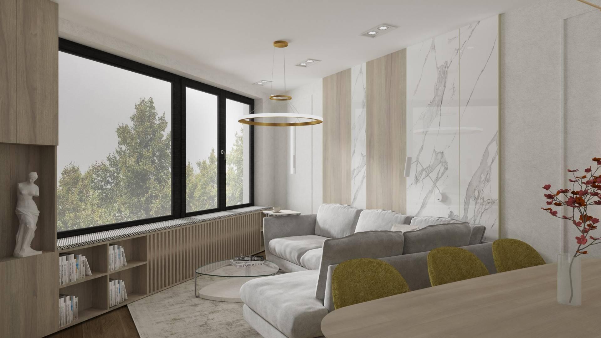 Interiérový dizajn – denná časť novostavby bratislavského bytu